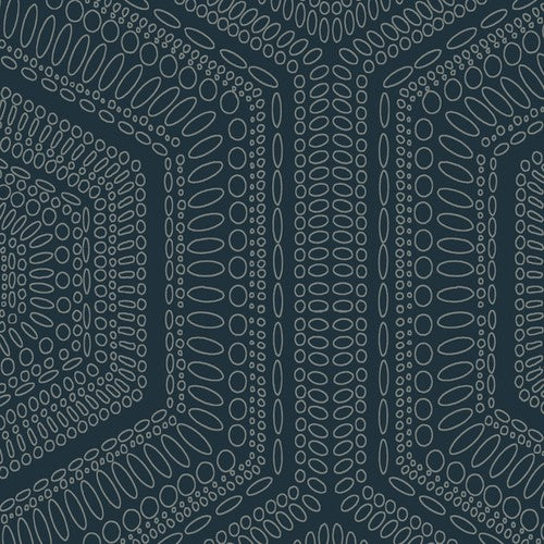Winfield Thybony Concentric Groove Deep Navy Wallpaper - Wallpaper