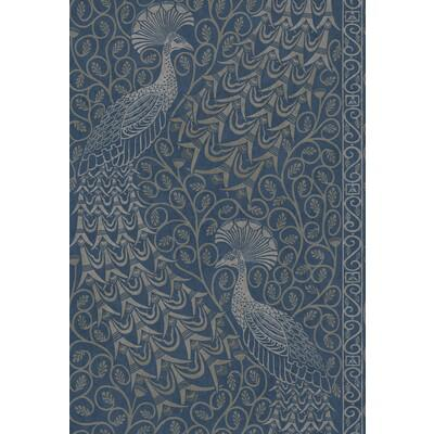 Cole & Son Pavo Parade Msilver/Denim Wallpaper - Wallpaper