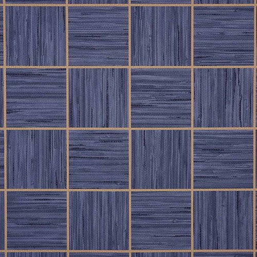 Phillip Jeffries Vinyl Square Dance Blue Ribbon Wallpaper - Wallpaper