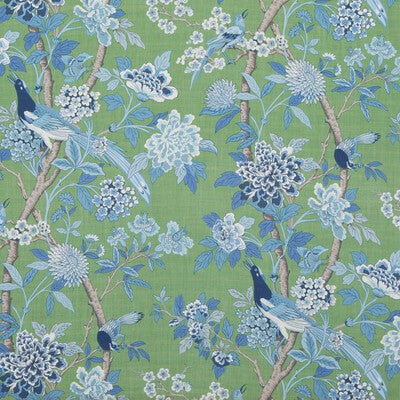 G P & J Baker Hydrangea Bird (Archive) Emerald/Blue Fabric - Fabric