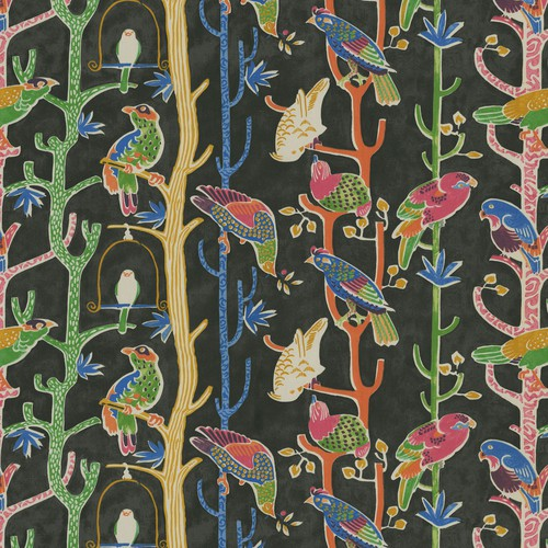 Waverly Birdhouse Chatter Licorice Fabric - Fabric