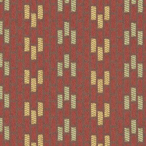 Robert Allen Floor Plan Orange Ochre Fabric - Fabric