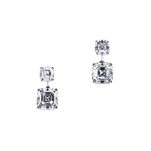 Double Asscher Drop Earrings – 8 CTW