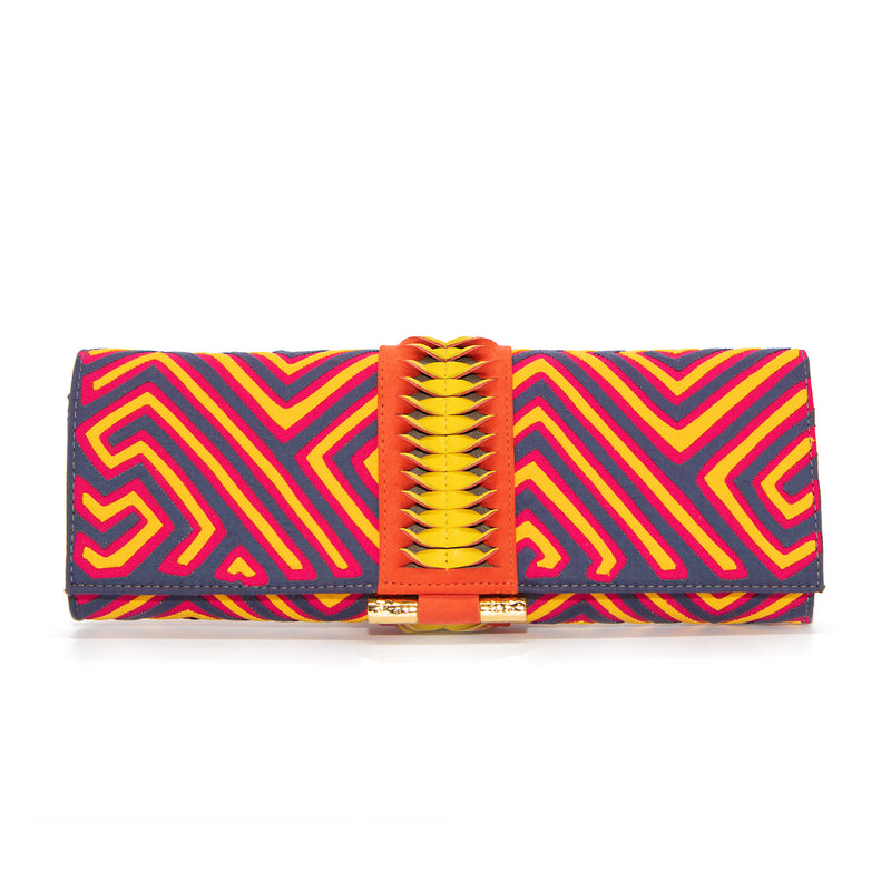 Mola Baguette Clutch - Gray/Yellow/Fuschia