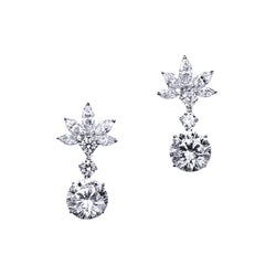 Marquise Cluster Earrings with Round Drops – 8 CTW
