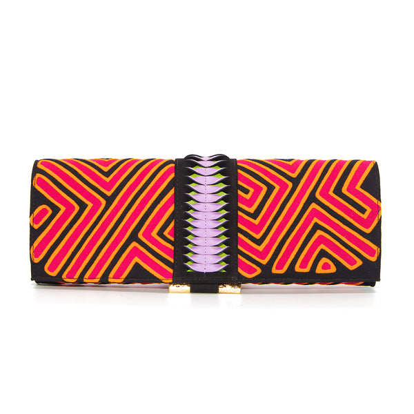 Mola Baguette Clutch - Black/Fuschia/Orange