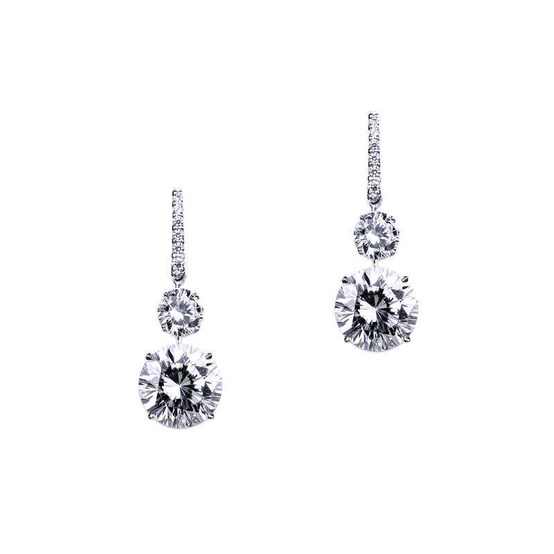 Pave Double Drop Round Earrings – 9 CTW