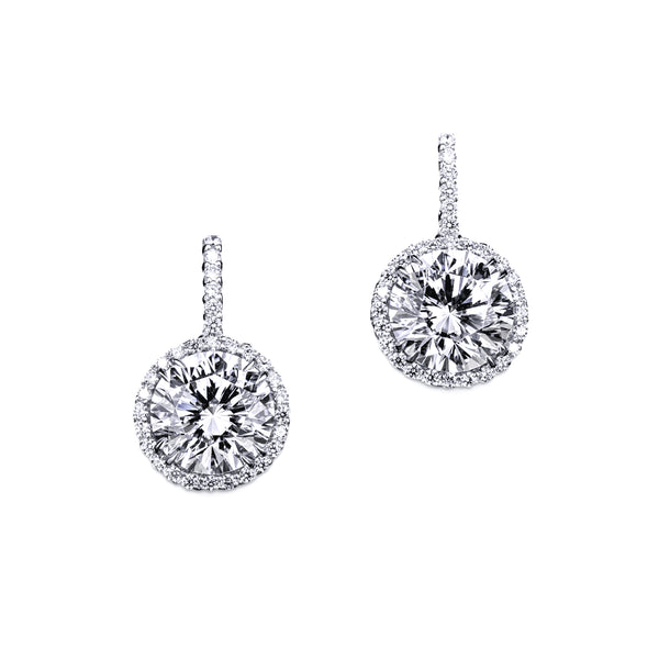Round Cut Halo Drop Earrings – 14 CTW
