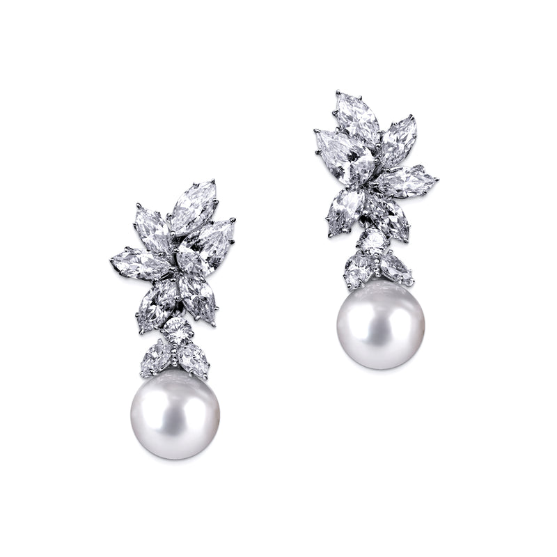 Pearl Earrings with Marquise, Pear, and Round Accents - White/Grey