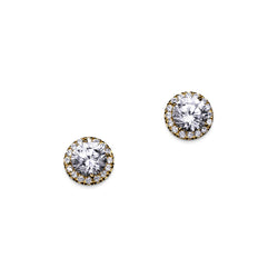Round Cut Halo Studs in Yellow Gold – 3 CTW