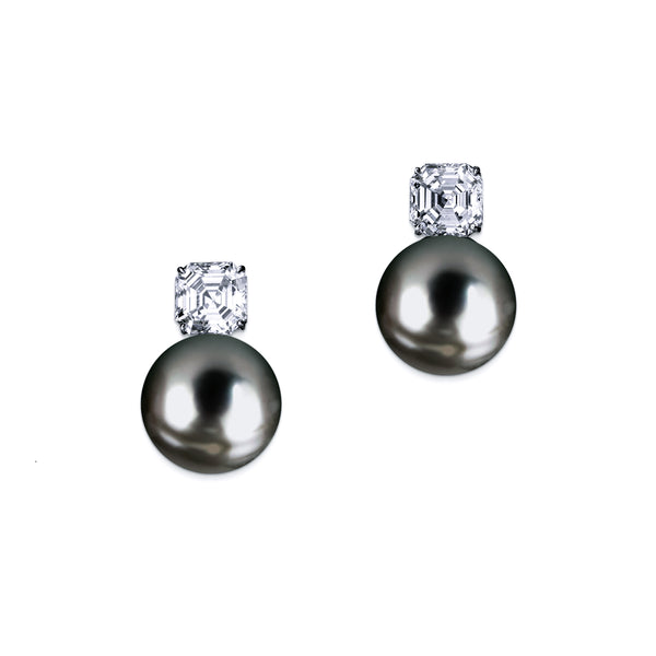 Pearl Earrings with Asscher Cut Stone - White/Grey