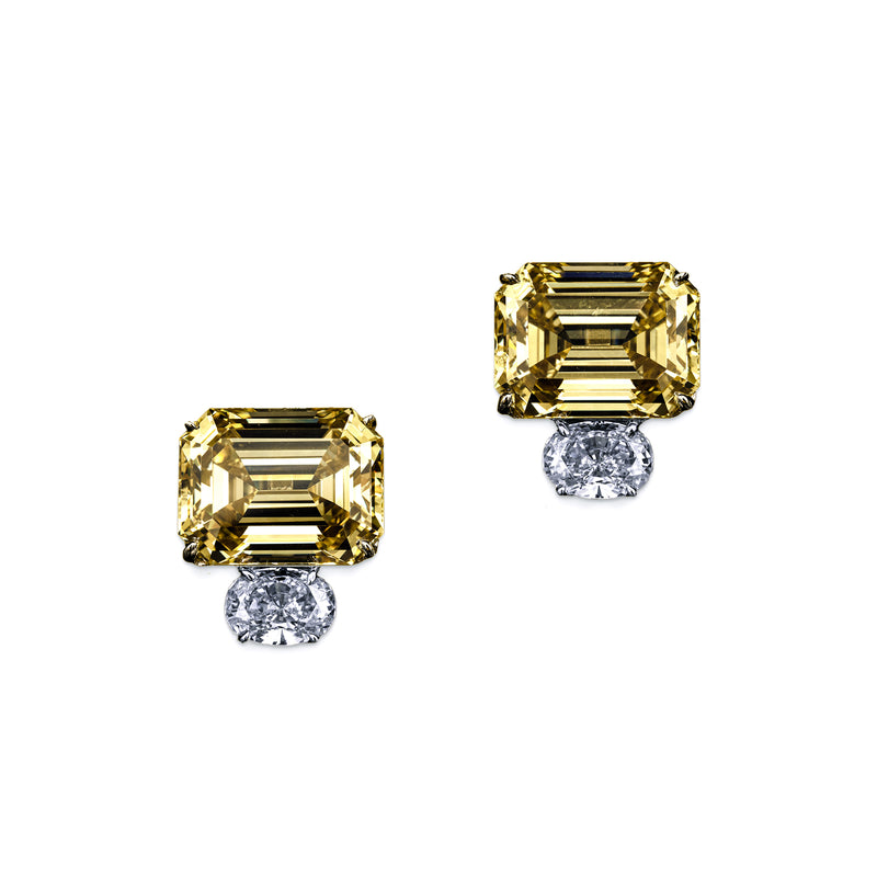 Emerald Cut Canary Earrings with Oval Accents – 13.5 CTW
