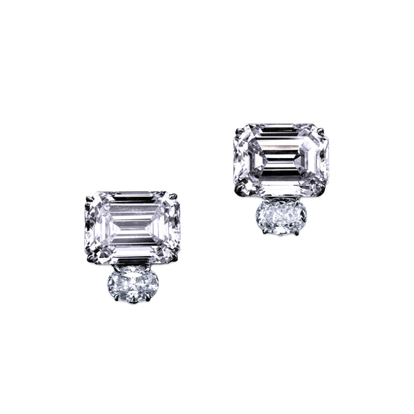 Emerald Cut Earrings with Oval Accents – 13.5 CTW