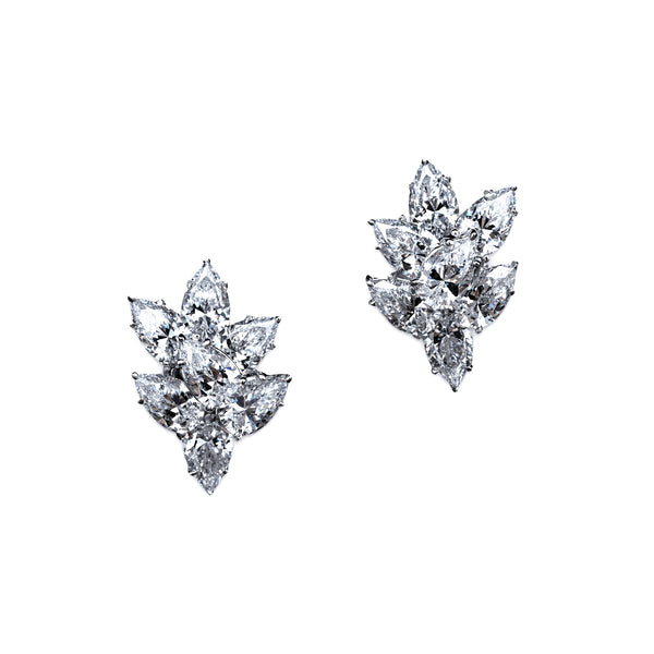 Pear Cluster Earrings – 14 CTW