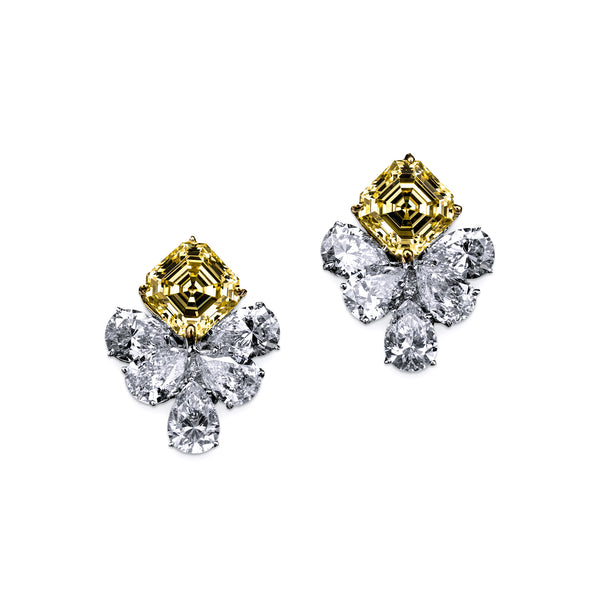 Asscher Cut Canary Earrings with Pear Drops – 13 CTW