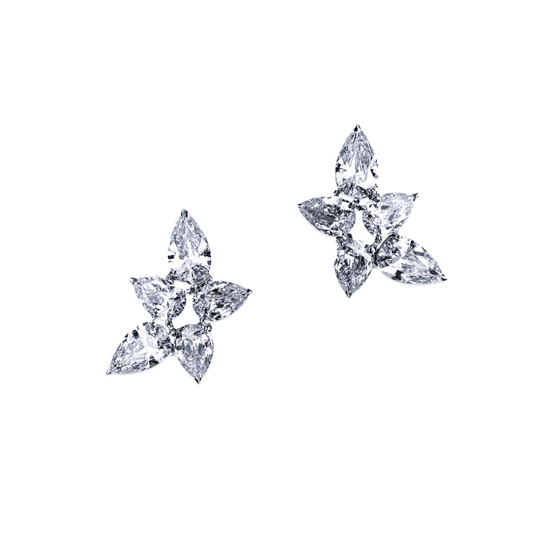 Pear Cluster Earrings - 9 CTW