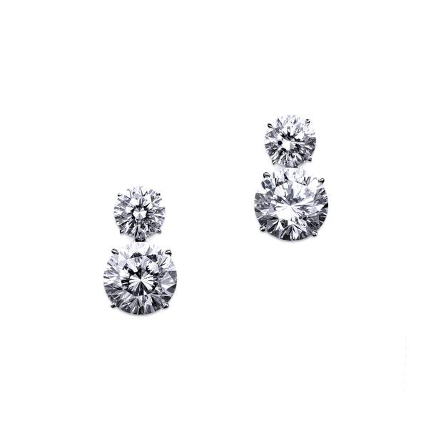 Double Round Drop Earrings – 10 CTW