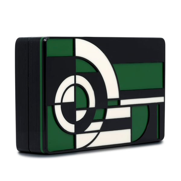 Metropolis Rectangular Minaudiere Clutch - Green