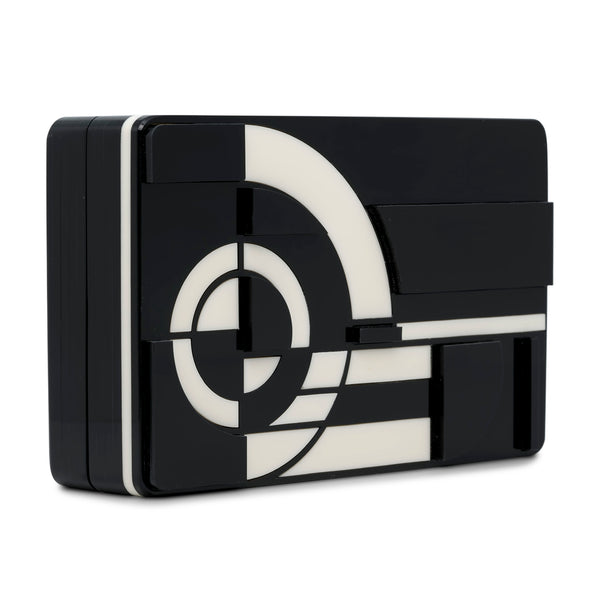 Metropolis Rectangular Minaudiere Clutch - Black
