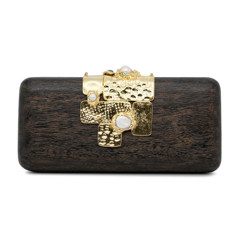 Collage - Hand Carved Mahogany and Pearl Clutch