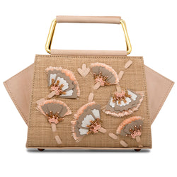 Carbonero Embroidered and Beaded Top Handle Bag - Rose/Nude