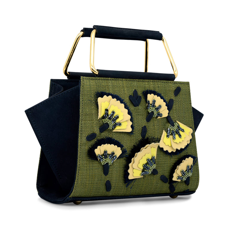 Carbonero Embroidered and Beaded Top Handle Bag - Green/Navy