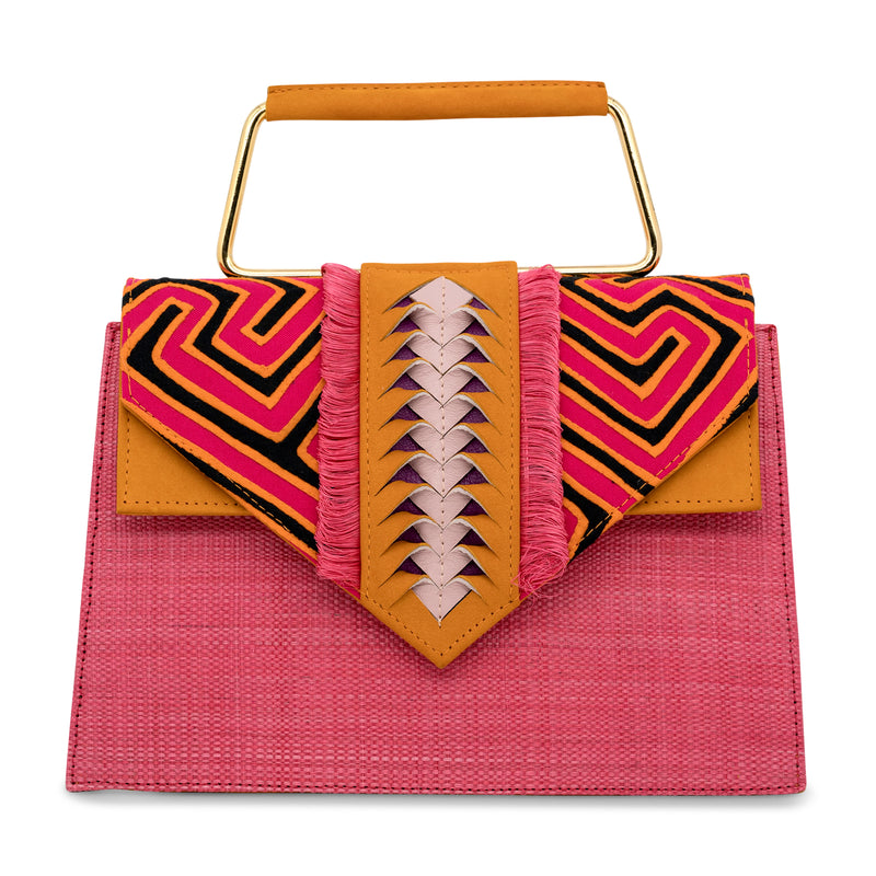 Carlitos Mola Top Handle Bag - Pink/Orange