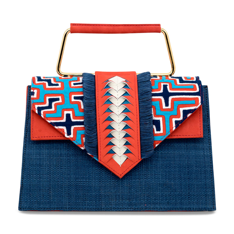 Carlitos Mola Top Handle Bag - Blue/Coral