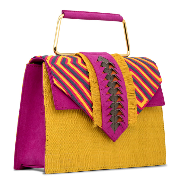 Carlitos Mola Top Handle Bag - Yellow/Pink