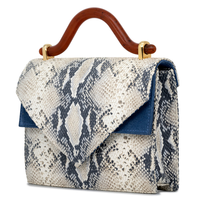Casablanca Leather Top Handle Bag - Reptile/Blue