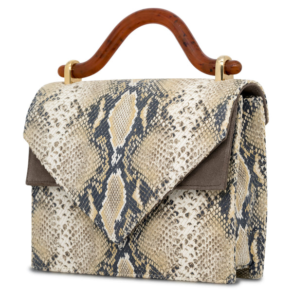 Casablanca Leather Top Handle Bag - Reptile/Brown