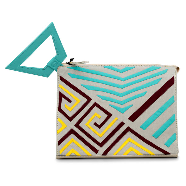 Narrow Clutch - Taupe/Turquoise/Maroon