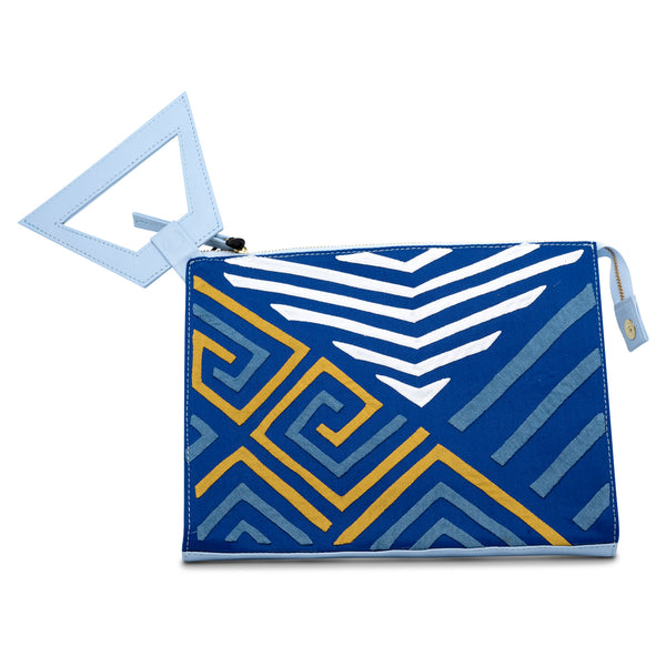 Narrow Clutch - Navy/White/Ochre
