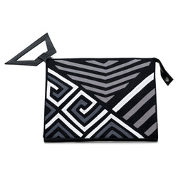 Narrow Clutch - Black/White/Grey