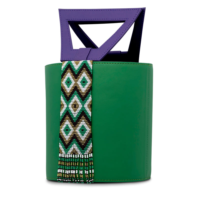 Leather Bucket Bag with Embera Beading - Green