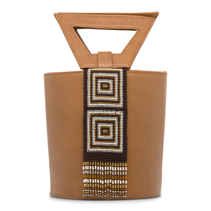 Leather Bucket Bag with Embera Beading - Camel