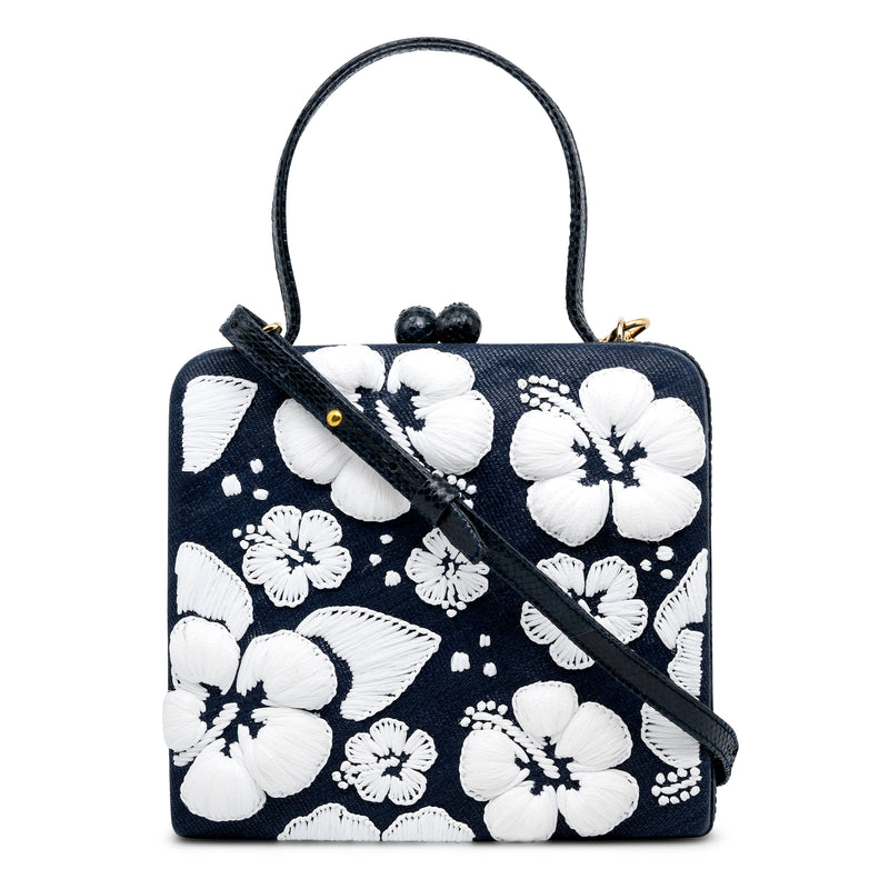 Hibiscus Box Top Handle Bag - Denim/White