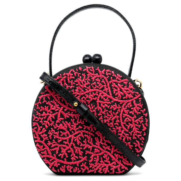 Coral Round Top Handle Bag - Red/Black