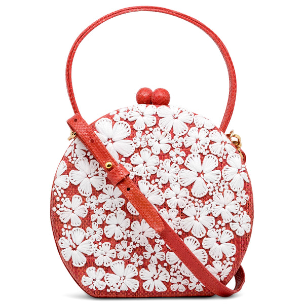 Hibiscus Round Top Handle Bag - Coral/White