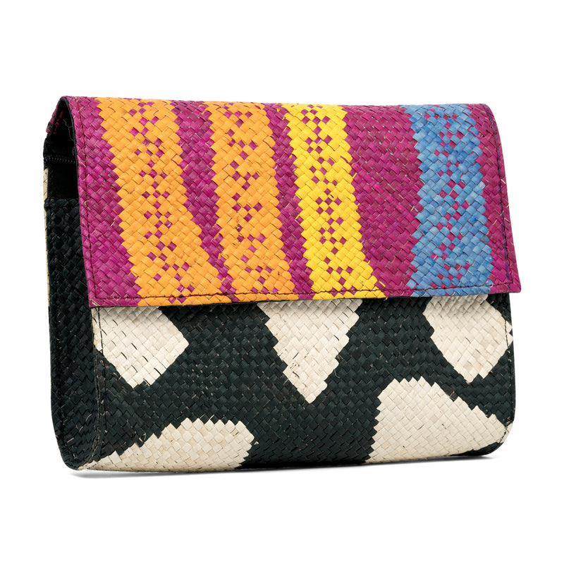 Zamal - Handwoven Straw Clutch with Contrast Patterns - Pink with Zebra