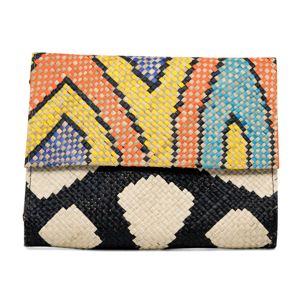 Zamal - Handwoven Straw Clutch with Contrast Patterns - Yellow with Zebra