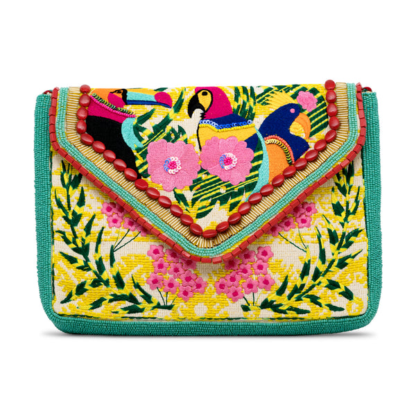 Holi - Hand Embroidered and Beaded Clutch