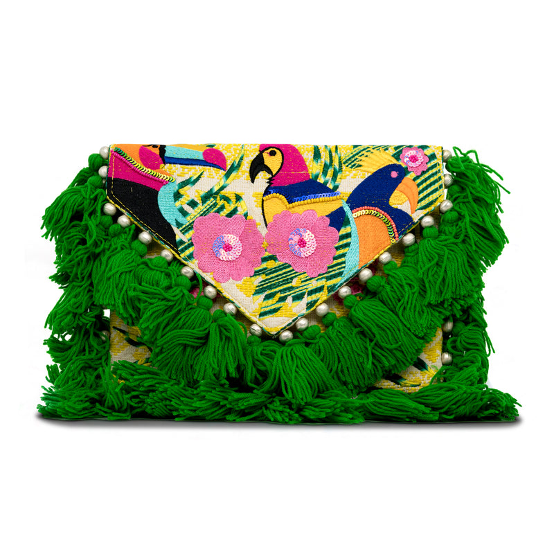 Holi - Hand Embroidered Clutch with Green Tassels