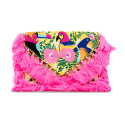 Holi - Hand Embroidered Clutch with Hot Pink Tassels