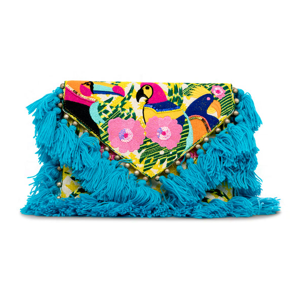 Holi - Hand Embroidered Clutch with Blue Tassels