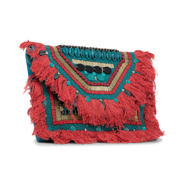Marina - Shell and Beaded Leather Clutch