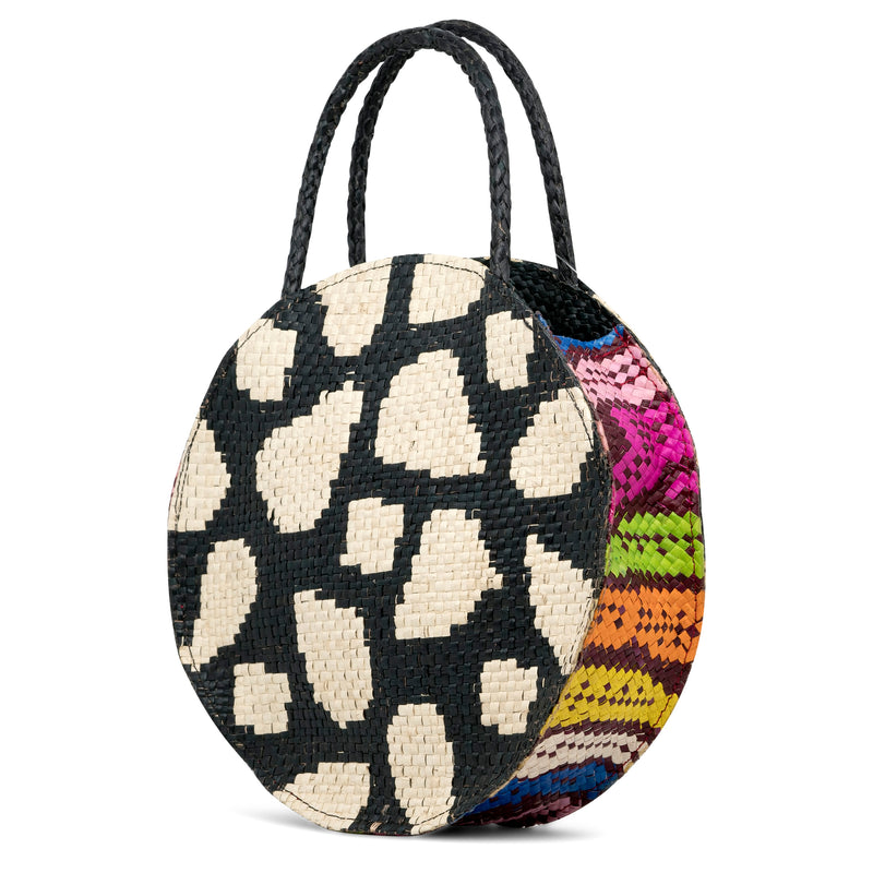 Zamal Circulo - Handwoven Straw Bag with Contrast Patterns