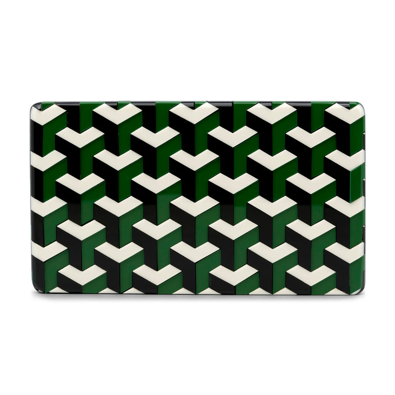 Ideal Minaudiere Clutch - Green/Black