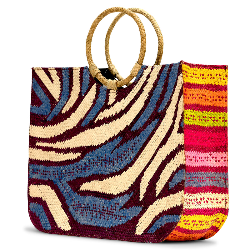 Zamal Grande - Handwoven Straw Beach Bag with Contrast Patterns