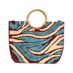 Zamal Medio - Handwoven Straw Bag with Contrast Patterns and Leather Strap